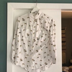Madewell Cats Leopards and Tigers button up